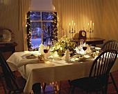 Festive Christmas Table Set for Dinner