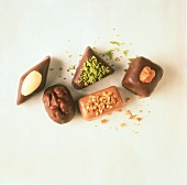 Pralines decorated with Nuts