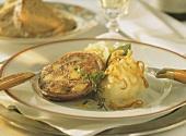 Stuffed pig's stomach (Saumagen) with mashed potato
