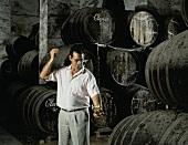 Cellar master Barcia draws off Oloroso at Osborne's in Spain