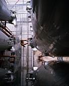 Stainless steel fermenting tank in the Torres Cellars, Penedes, Spain