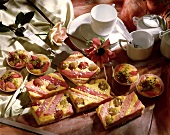 Rhubarb & gooseberry slices and buns, coffee service