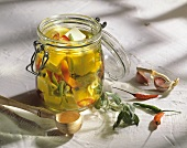 Pickled Feta Cheese with Peppers