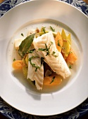 Stewed cod with vegetables