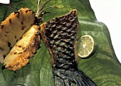 Grilled Parrot Fish Fillet and Pineapple on a Leaf