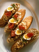 Maatjes Herring on Bread Slices with Mayonnaise, Egg and Tomato