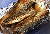 Herb stuffed mackerel in foil