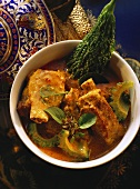Fried spare ribs with red curry and krachai