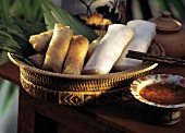 Spring Rolls and Egg Rolls in a Basket