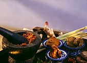 Curry paste in a Mortar and Pestle