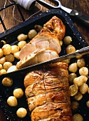 Pork loin in ham with pearl onions and carvers