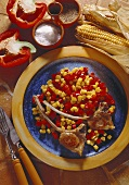 Lamb chops with bell pepper & corn as vegetables