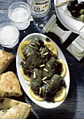 Stuffed Grape Leaves with Pine Nuts