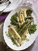 Vegetable platter - white asparagus, green asparagus & sugar pods