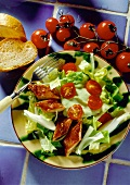 Romana Salad with pieces of Mackerel, Cherry Tomatoes and Avocado Dressing with Slices of French Bread