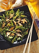 Spinach Salad with roasted Shiitake Mushrooms and Sesame and Ginger Dressing