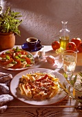 Penne all'arrabiata & insalata caprese (Italy)