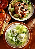 Salade nicoise and stuffed eggs, gardener style