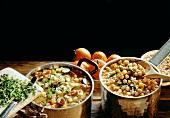 A pot of chick pea soup and a pot of farmhouse soup
