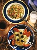 Salad of bulgur, tomatoes, onions and aubergine salad