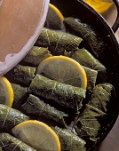 Vine leaves with rice, currant and parsley stuffing