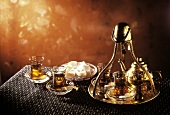 Turkish Tea Scene with Brass Accessories