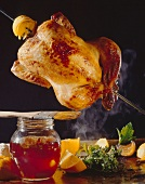 Grilled chicken on skewer with citrus fruit