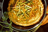 Pancake with Carrots and Zucchini in Pan