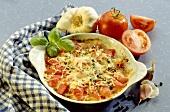 Tomato gratin with fresh basil and garlic