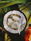 Coconut milk sorbet in coconut half, green leaves