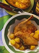 Flambéed rum duck with pumpkin ragout on plate