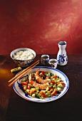 Shrimp with Assorted Diced Vegetables; Chopsticks
