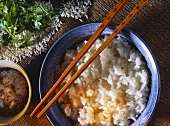 Rice, cooked Chinese style, in bowl