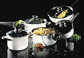 Assorted Pots with Glass Lids