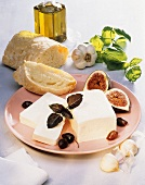 Feta Cheese on a Plate with Fig and Bread
