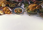 French poultry dishes: chicken, duck stew and turkey