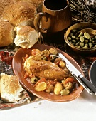 Chicken with olives (Poulet aux olives, from Corsica)