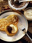 Dish from Russia: three blinis (buckwheat pancakes)