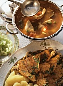 Two Hungarian fish dishes: fish soup & pike-perch fillets