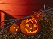 Two Jack o' Lanterns with Candles on Hay