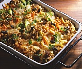 Whole food casserole of brown rice, wheat grains, leek etc