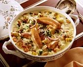 Sahniger Gemüseeintopf aus Kartoffeln, Kohlrabi, Zwiebeln u.a
