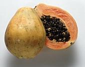 A Papaya Sliced in Half