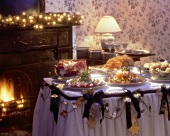 Christmas Buffet near a Fireplace
