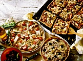 Ham and Fennel Pizza, Chicken Pizza and Tuna and Olive Pizza