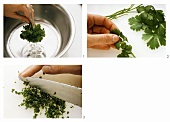 Washing flat leaf parsley, picking off & chopping the leaves
