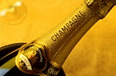 Neck of a fine sparkling wine bottle from Champagne