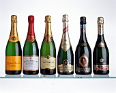 Six sparkling wine bottles with champagne and German Sekt