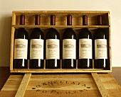 Wooden crate with six bottles of 1989 Ornellaia (Tuscany)