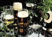 Assorted Beer in Beer Mugs
